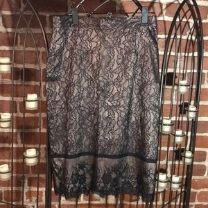Lace Over Silk Pencil Skirt